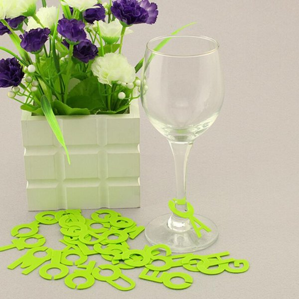 Purple Alphabet Initial Letter Wine Glass Charms Wedding Birthday Party