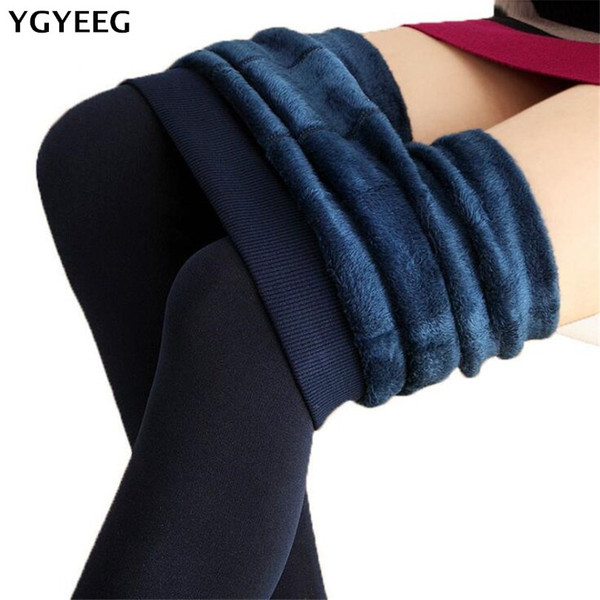YGYEEG Women Pants Candy Colors Women Pants Plus Velvet Thick Warm Leggings For Winter Ladies Super Elastic Women's Clothing