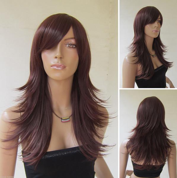 Длинный красновато-коричневый жаропрочных флип фигурные косплей парик цвет 33 # бесплатная доставка