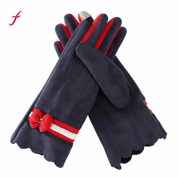 1 Pair Fashion Autumn Winter Spring Warm Women Mittens Girls Ladies Hand Wrist Thicken Warm Gloves Leather Handschoen#W