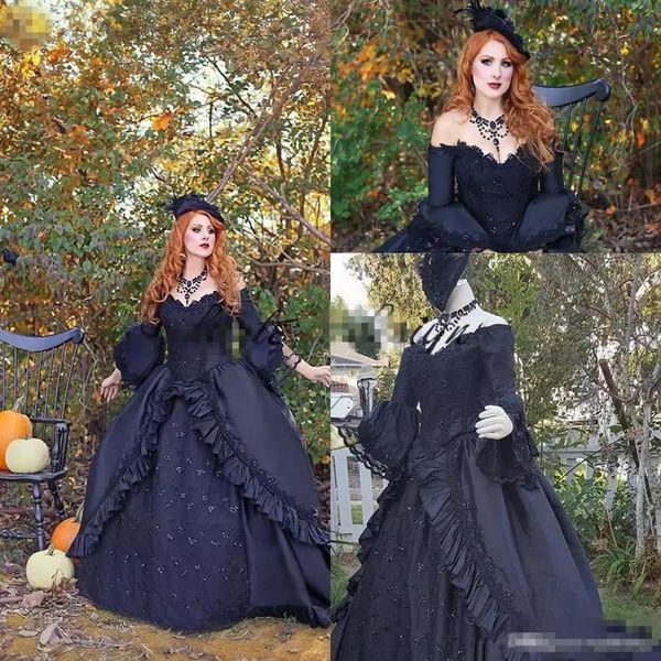 Vintage Victorian Black Wedding Dresses with Long Sleeve 2019 Retro Plus Size Lace Off Shoulder Gothic Corset Lace up Wedding Bridal Gown