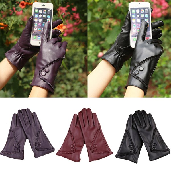 YJSFG HOUSE Hot Women Winter Warm Gloves Pu Leather Lace Outdoor Driving Glove Mittens Wrist Ladies Fashion Biker Party Gloves