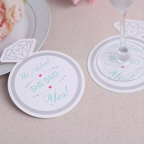 1200pcs=100bags/Lot+Newest Style Diamond Ring Design Paper Coasters Wedding Favors Coasters(Set of 12)+FREE SHIPPING