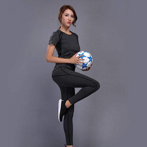 Women Yoga Set Gym Fitness Clothes Top Shirt High Waist Yoga Pants Running Sportswear Girl Slim Leggings Workout Sport Suit