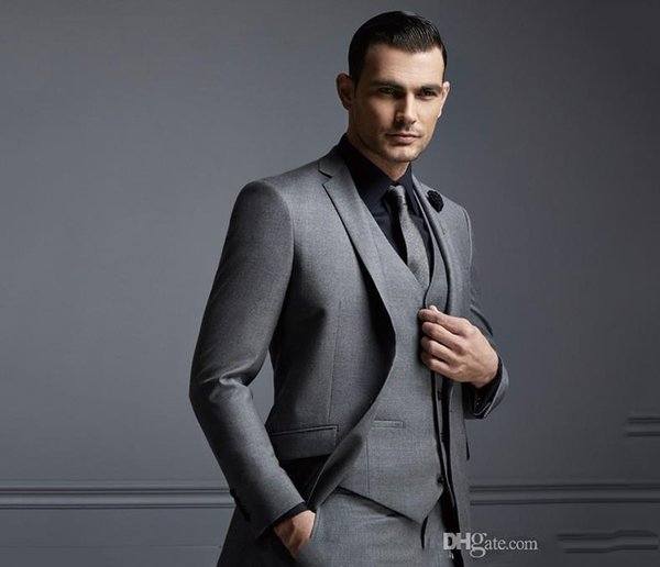 Slim Fit Groom Tuxedos New Fashion Gray Mens Suit Cheap Groom Suit Formal Man Suits For Best Men (Jacket with Vest with Pants)