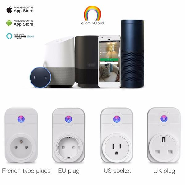 Wifi Smart Plug Home Automation Aplicación de teléfono Interruptor de sincronización Control remoto 100-240V Wifi Socket Trabajar con Amazon Alexa y Google