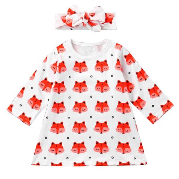 2 pezzi Primavera bambino ragazze manica lunga vestito allentato Animale carino stampato + Topknot