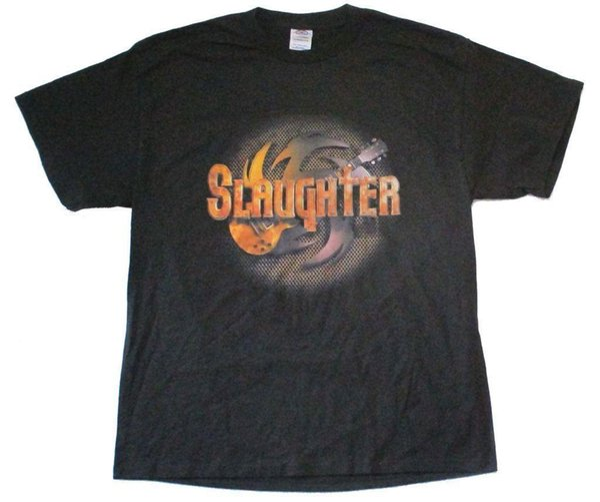 Slaughter Guitar Logo Made In USA Damn Proud Black T Shirt New Metal Band