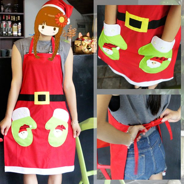 1pc Adult Sleeveless Apron Christmas Santa Claus snowman embroidered style Waterproof Cleaning Protect Bathroom kitchen supplies