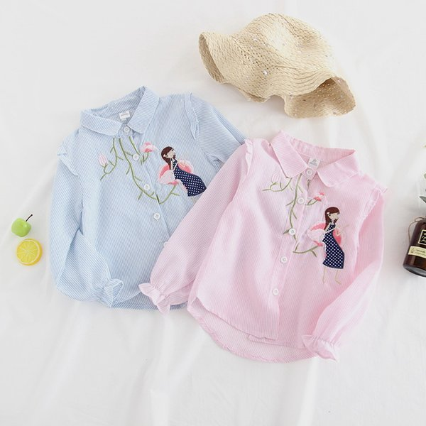 c00508d5 Girls stripe shirt kids girls floral embroidery princess tops child lapel  single breasted falbala sleeve blouse