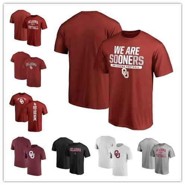 Mens Oklahoma Sooners Fanatics Branded Football Personalized Backer Campus T-Shirt red black white grey size S-XXXL free shipping