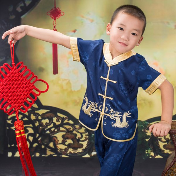 Summer New Arrival Baby Boys Short Sleeve Gorgeous Embroidered Children Ancient Chinese Costume Joyous Performing Clothes Set