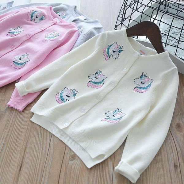 Kawaii INS Styles Girl Kids Spring Autumn Long Sleeve Pure Cotton Cardigan Unicorn Pattern Knitted Sweater for Girls