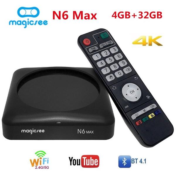 MAGICSEE N6 MAX TV Box Android 7.1 4GB 32GB Set Top Box 2.4G 5GWiFi 1000Mbps USB3.0 OTG BT4.1 Media Player Support 4K H.265