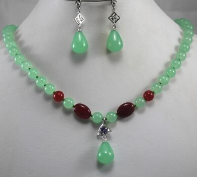 Free Shipping 2 styles! Wholesale 8mm light green/red jades wonderful necklace+ 2 stylesNatural Stone earring&pendant necklace jewelry set