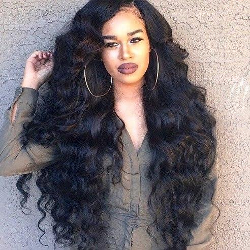 Affordable beauty sexy 100% unprocessed raw virgin remy human hair long natural color big curly full lace cap wig for women