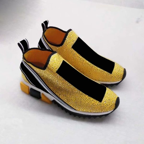 2018 Newest Sneakers Shoes Fashion Silver crystals Letters Women and Men Sock Shoes Yellow Rhinestone WITH Box Size 35-46