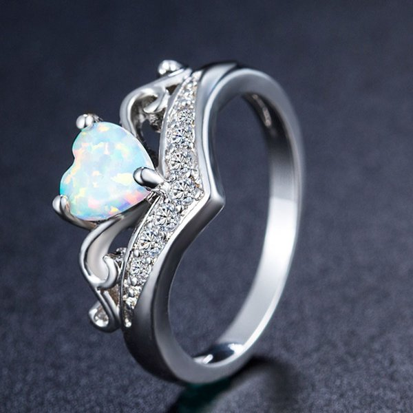 Mode Weiß Feueropal Naturstein herz Kristall Ringe Frauen Damen Ring Geschenke Schmuck Hochzeit Jahrestag ring drop ship
