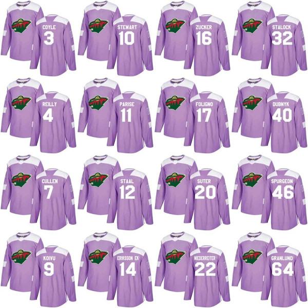 Minnesota Wild Jersey Purple Fights Cancer Practice 20 Ryan Suter 22 Nino Niederreiter 46 Jared Spurgeon 64 Mikael Granlund Hockey Jerseys