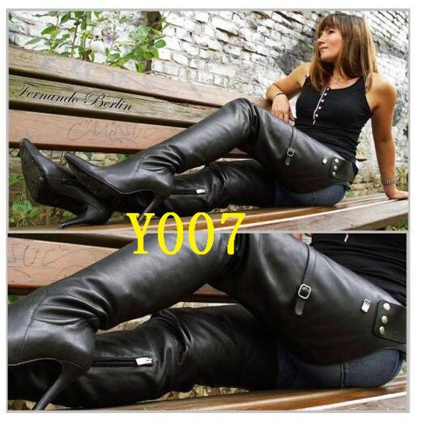 Rihana 2019 mode frauen leder lange taille gürtel stiefel spitz über dem knie hohe ferse crotch stiefel zapatos de mujer