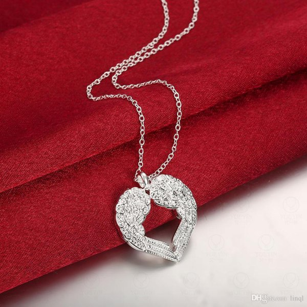 Pretty silver jewellery Free shipping 925 Sterling Silver fashion jewelry charm Heart Ladies Angel cute PENDANT necklace N357
