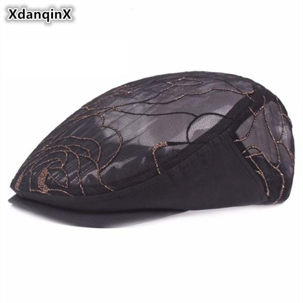 XdanqinX Frauen Net Cloth Berets 2018 New Style Mesh Atmungsaktive Visierkappe Ultra Thin Belüftete Ethnic Style Cool Hat Für Frauen