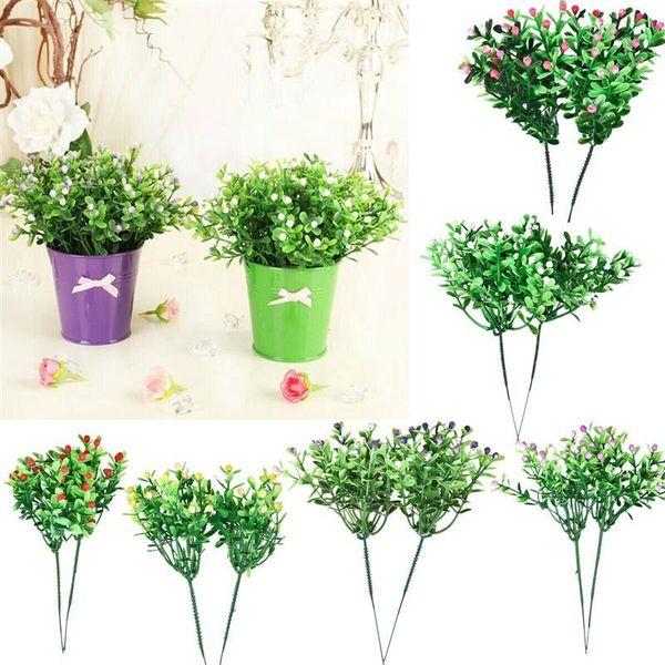 2Pcs Simulation Artificial Flower Milan Grain Plastic Flower Grass Green Plant Grain Wedding Party Garden Home Decoration