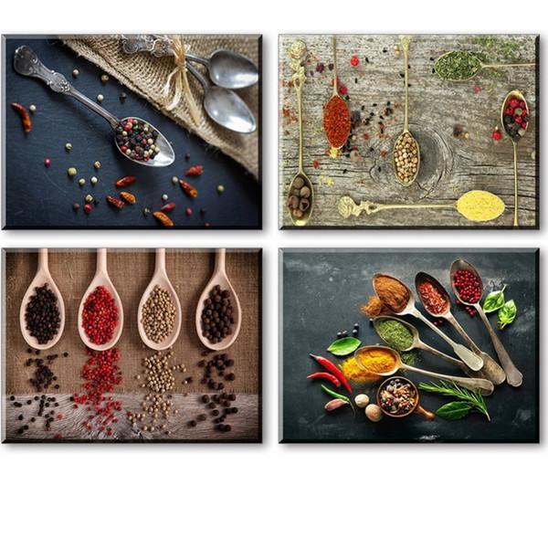 Impressions sur toile pour la décoration murale de cuisine, 4 pièces ensemble Spice and Spoon Vintage photo d'art de mur de toile, prêt à accrocher