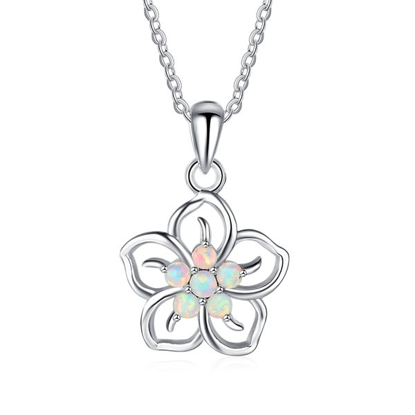 af0ab33e64d55c Brand New Fashion Plum Flower Design Pendants Necklace For Women Genuine  925 Sterling Silver Wedding Jewelry
