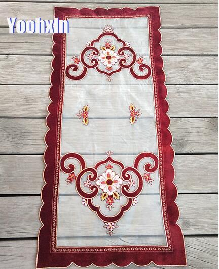NEW lace red embroidery bed table runner cloth cover flower coffee tablecloth placemat home wedding Christmas party decor