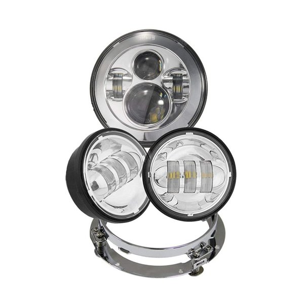 "7"" Harley LED Headlight + 4..5"" Fog Light + Mounting Bracket FIT Motorcycle Dyna Switchback Electra Glide"