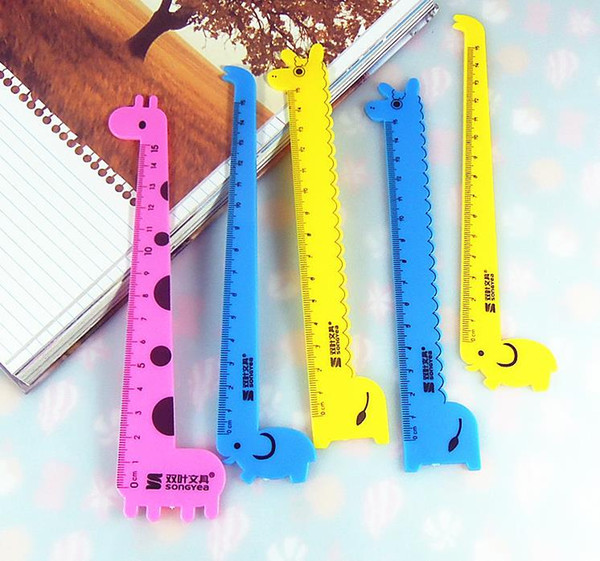 2000 pcs Giraffe ruler student ruler prizes Korea creative stationery school supplies 15cm cartoon,kawaii rulers righello