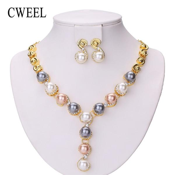 Toda la ventaCWEEL Conjuntos de joyas Boda Beads africanos Conjunto de joyas Perlas de imitación Nupcial Dubai Indio Moda india Joyas de Navidad para mujeres