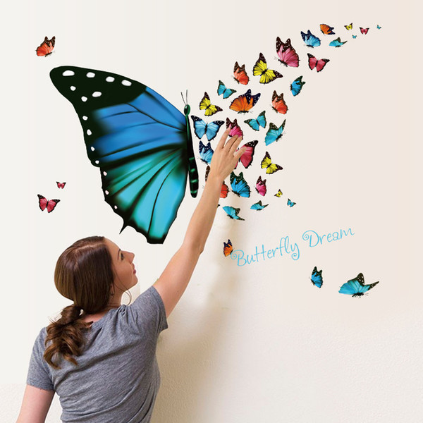 Beautiful Flutters Butterfly Dream Wall Sticker Fresh Living Room Porch Glass Freezer Display Window Decal Mural Poster Home Decor 1 5pc gg