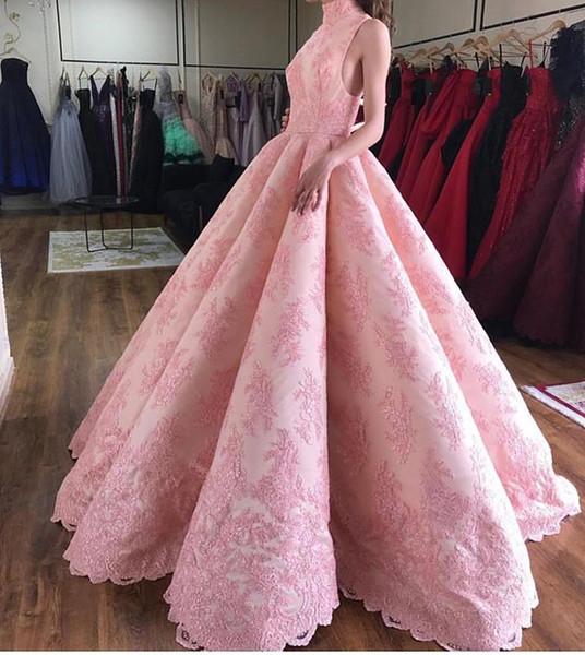2019 New Pink High Neck Evening Dresses A Line Zipper Back Saudi Arabic Style Formal Evening Oaccsion Dresses Custom Made Hot Sale