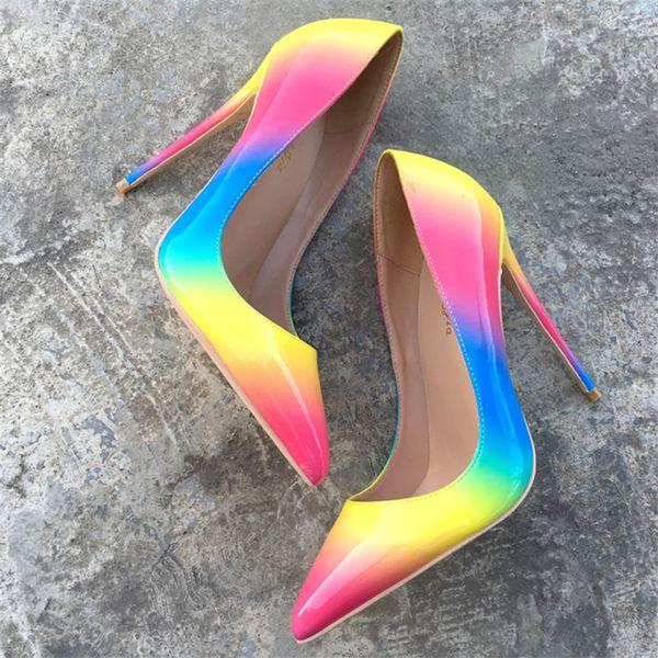 Livraison gratuite mode femmes pompes arc en cuir verni point pointe talons hauts chaussures à talon mince en cuir véritable 120mm 100mm vraie photo