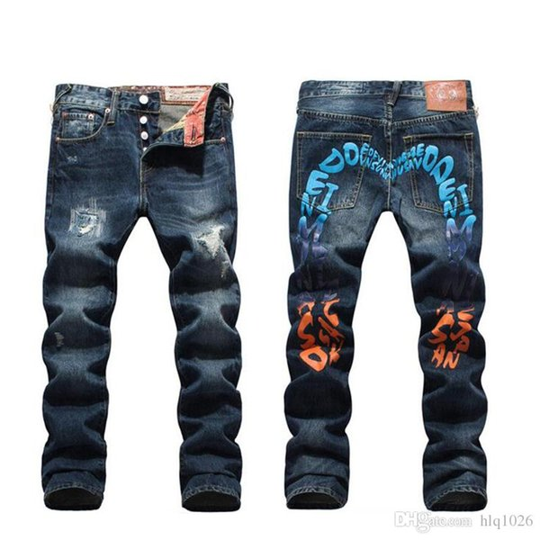 Büyük M mektubu baskı erkekler kot yüksek kalite hip hop artı boyutu jean pantolon erkekler için yeni gelgit dans pantolon erkekler ücre ...