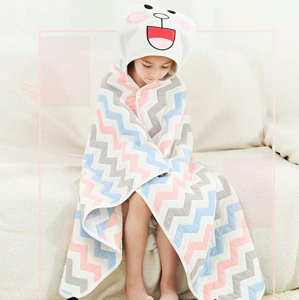 Baby Children's bath towel Cloak Hooded Cotton Gauze absorbent Super soft Cartoon Quilt Newborn baby bathrobe