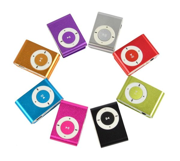 Metal Mini Clip MP3 Support Micro TF/SD Slot With Earphone and USB Cable Portable MP3 Music Players e313