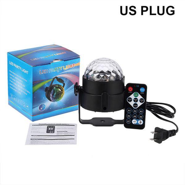 MiNi LED Remote Control Small Magic Ball AC110-240V 3W Voice Control Rotating Colorful KTV Flash Stage Light