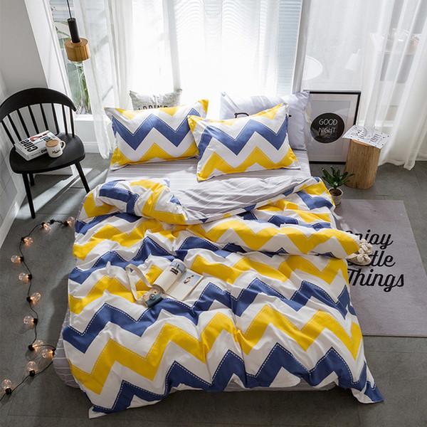 Textiles Stylish Simplicity Christmas Elk Striped Cartoon 4pcs Bedding Sets Contain Duvet Cover Bed Sheet Pillowcase