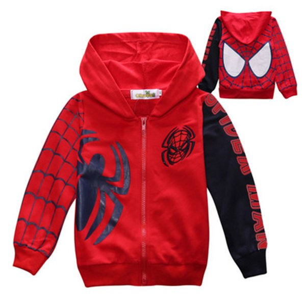 top popular Boy Jacket Boy Cotton Zipper Hooded Jacket Spider-Man Embroidered Jacket Single Layer Cardigan for 1-6 years old 2019