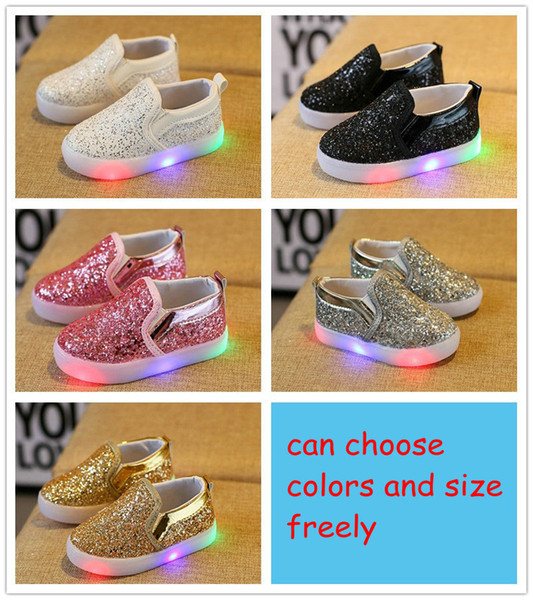 top popular Children Slides Shoes Korean Sequin LED Kids Sneakers Baby Sparkle Shoes For Girls Childrens Casual Sparkle Shoes A033 2021