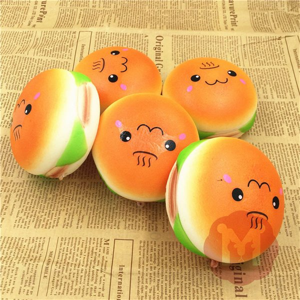 New 10cm Cute Jumbo Soft Squishy Smile Hamburger Charms Slow Rising Kawii Kids Toy Emoji Phone Straps For Cell Phone Decoration