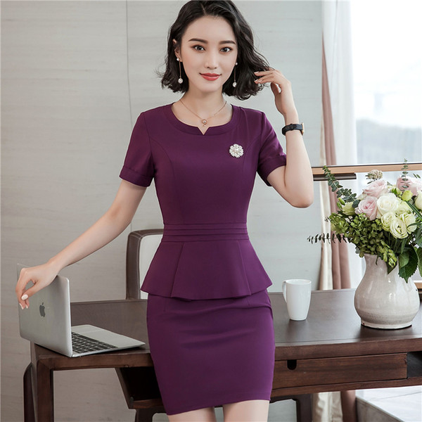 2018 Work Wear Fashion Women clothes Short Sleeve Shirt Top with skirt office ladies formal OL skirt plus size jacket set