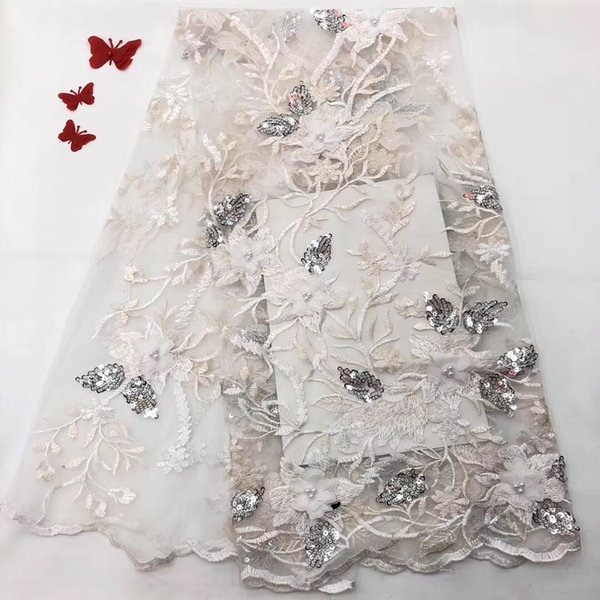 EPT1119 Fashion Beaded French Laces Fabric 3D Sequins Flower Embroidery High Quality Tulle Net Lace With Handwork Flower For Party Dress