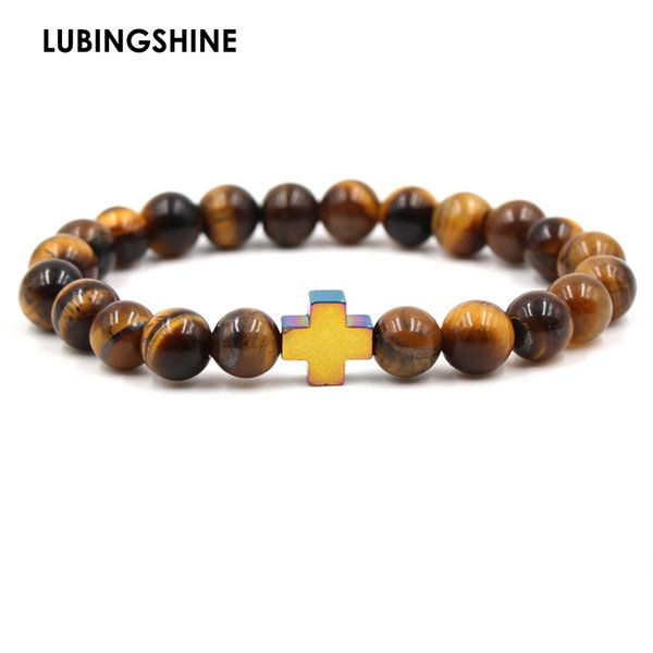 Fashion 8mm Tiger Eye Natural Stone Cross Bracelets Buddha Natural Stone Bracelets Bangles For Men Jewelry Accessories Wholesale