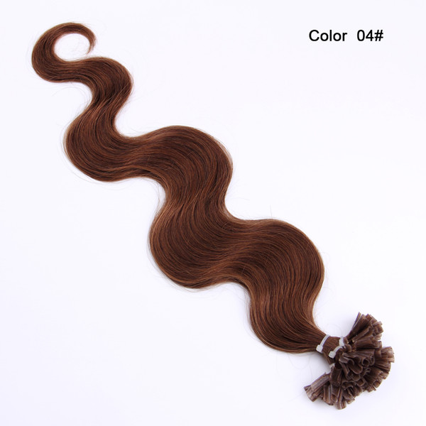 "Body Wave U Tip Hair Extensions 14''-26"" Keratin Hair On Capsule Machine Made Remy Fusion Nail Hair Blonde 1g Strand 100strands/lot"