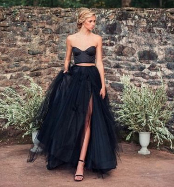 2 Pieces Black Gothic Wedding Dresses With Color Colorful Non White Sweetheart Boho Vintage Informal Bridal Gowns Colored Custom Made