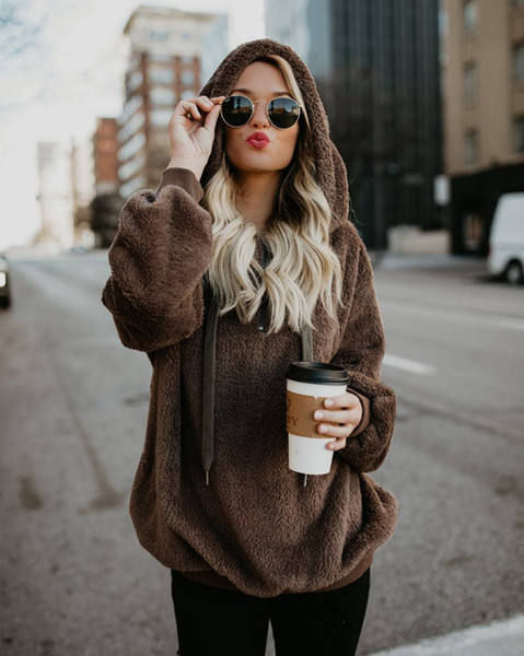 best selling 10 color Faux Fluffy Teddy Hooded Sweaters Women Drawstring Faux Fur Pullover Jumpers Ladies Zipper Autumn Winter Sweater Female